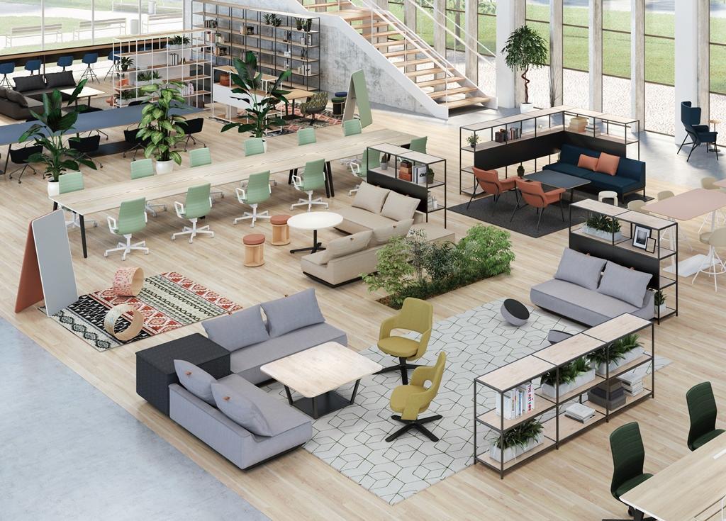 2020年向け「オフィスラウンジ」家具による空間構成イメージ
