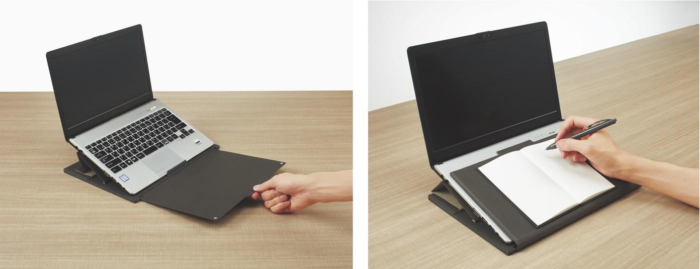 スライドボードを引き出して作業スペースを確保。キーボード上に折り返してノート筆記台にも。