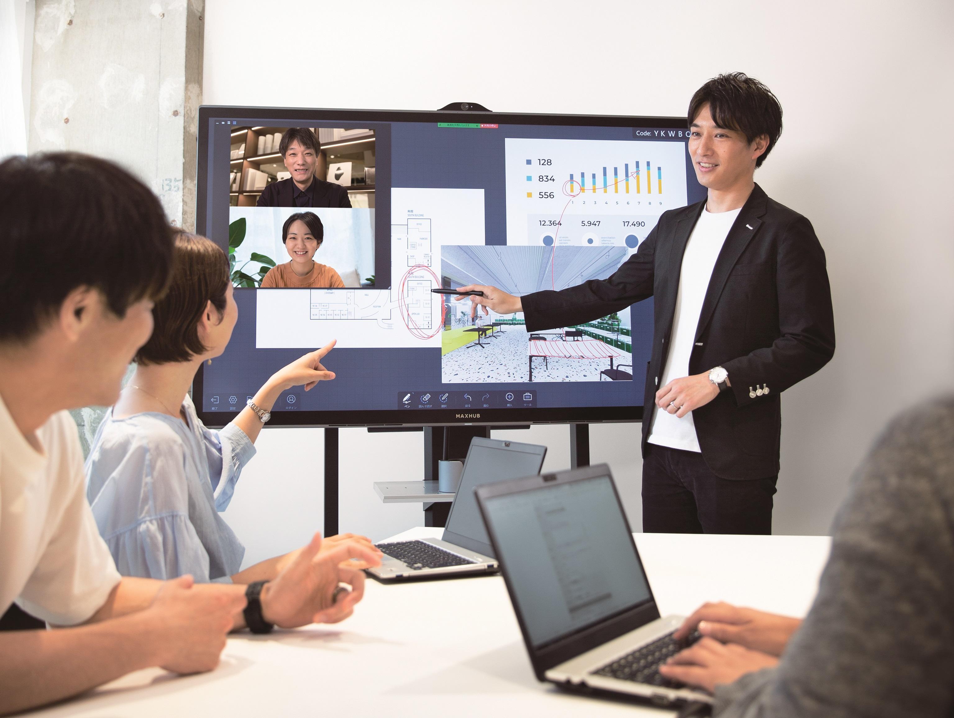 次世代インタラクティブ型コミュニケーションツール「MAXHUB」使用イメージ